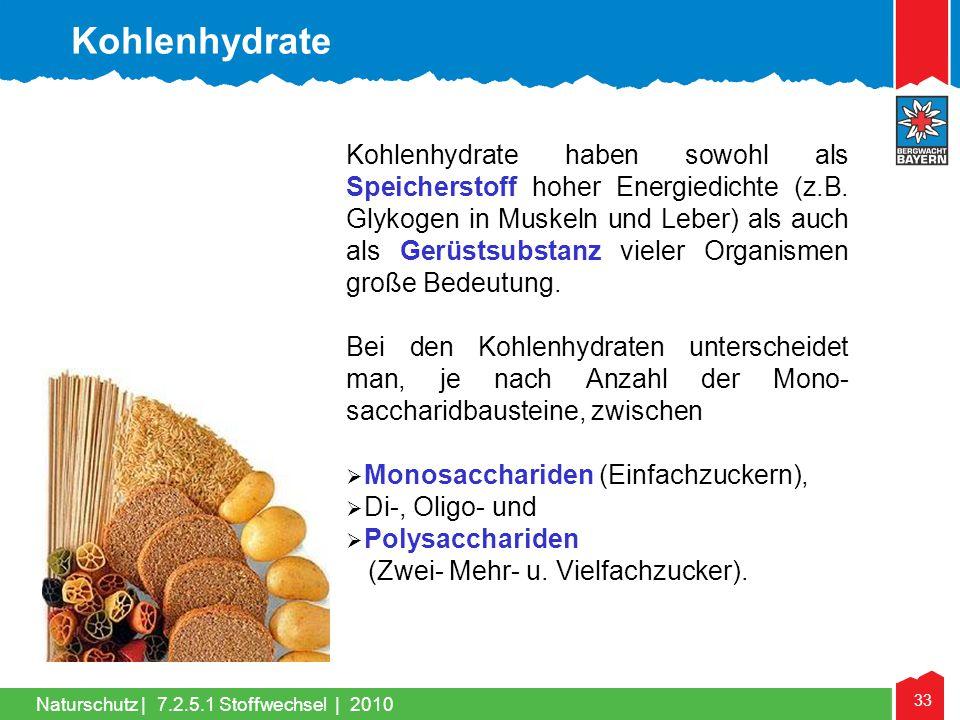 33 Naturschutz |7.2.5.1 Stoffwechsel | 2010 Kohlenhydrate haben sowohl als Speicherstoff hoher Energiedichte (z.B. Glykogen in Muskeln und Leber) als