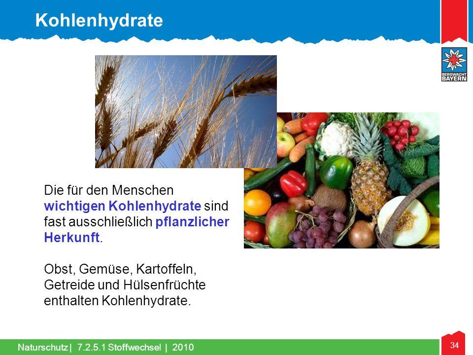 34 Naturschutz |7.2.5.1 Stoffwechsel | 2010 Die für den Menschen wichtigen Kohlenhydrate sind fast ausschließlich pflanzlicher Herkunft. Obst, Gemüse,