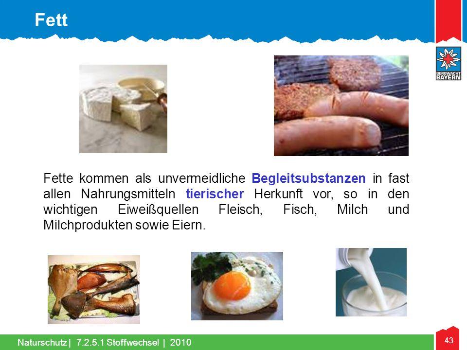 43 Naturschutz |7.2.5.1 Stoffwechsel | 2010 Fette kommen als unvermeidliche Begleitsubstanzen in fast allen Nahrungsmitteln tierischer Herkunft vor, s
