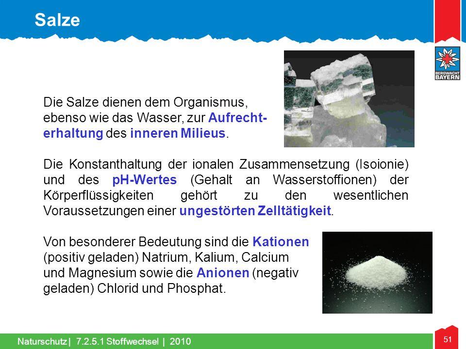 51 Naturschutz |7.2.5.1 Stoffwechsel | 2010 Die Salze dienen dem Organismus, ebenso wie das Wasser, zur Aufrecht- erhaltung des inneren Milieus. Die K