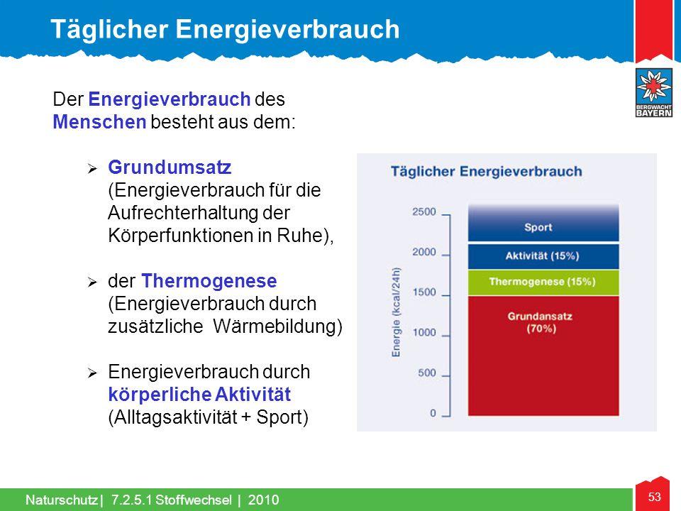 53 Naturschutz |7.2.5.1 Stoffwechsel | 2010 Der Energieverbrauch des Menschen besteht aus dem:  Grundumsatz (Energieverbrauch für die Aufrechterhaltu
