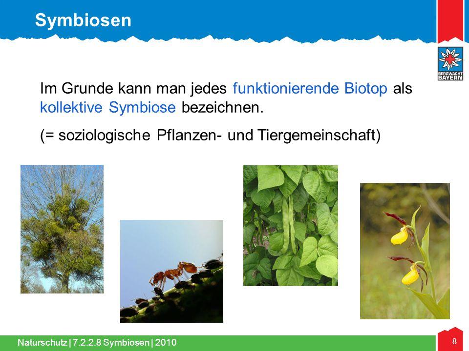 Naturschutz | 8 7.2.2.8 Symbiosen | 2010 Im Grunde kann man jedes funktionierende Biotop als kollektive Symbiose bezeichnen. (= soziologische Pflanzen