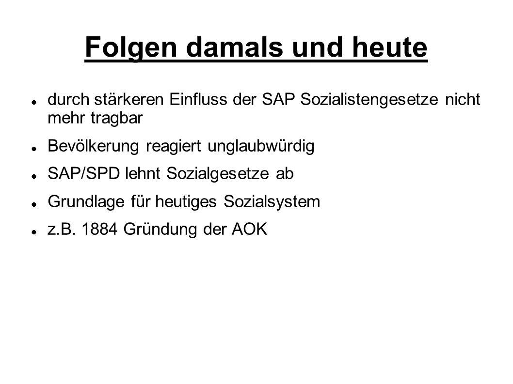 Folgen damals und heute durch stärkeren Einfluss der SAP Sozialistengesetze nicht mehr tragbar Bevölkerung reagiert unglaubwürdig SAP/SPD lehnt Sozial