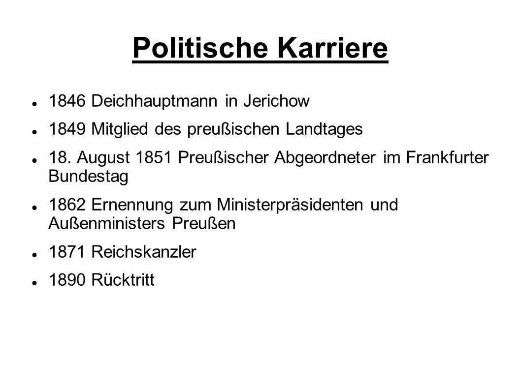 Politische Karriere 1846 Deichhauptmann in Jerichow 1849 Mitglied des preußischen Landtages 18. August 1851 Preußischer Abgeordneter im Frankfurter Bu