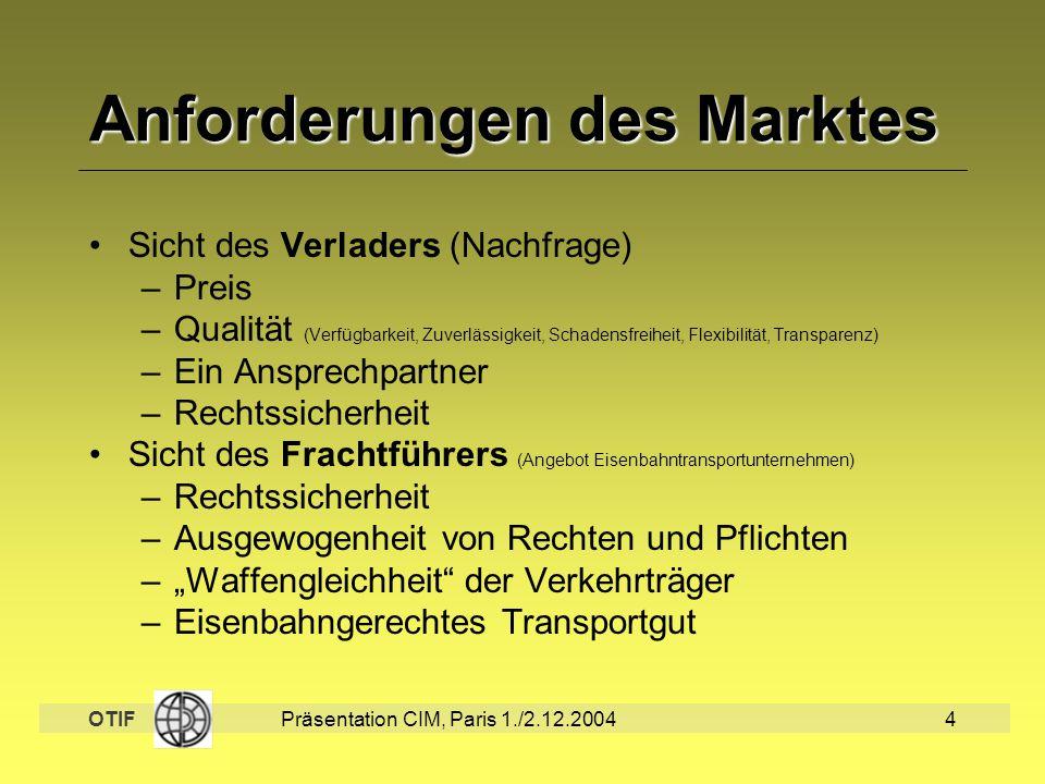 OTIF Präsentation CIM, Paris 1./2.12.20044 Anforderungen des Marktes Sicht des Verladers (Nachfrage) –Preis –Qualität (Verfügbarkeit, Zuverlässigkeit,