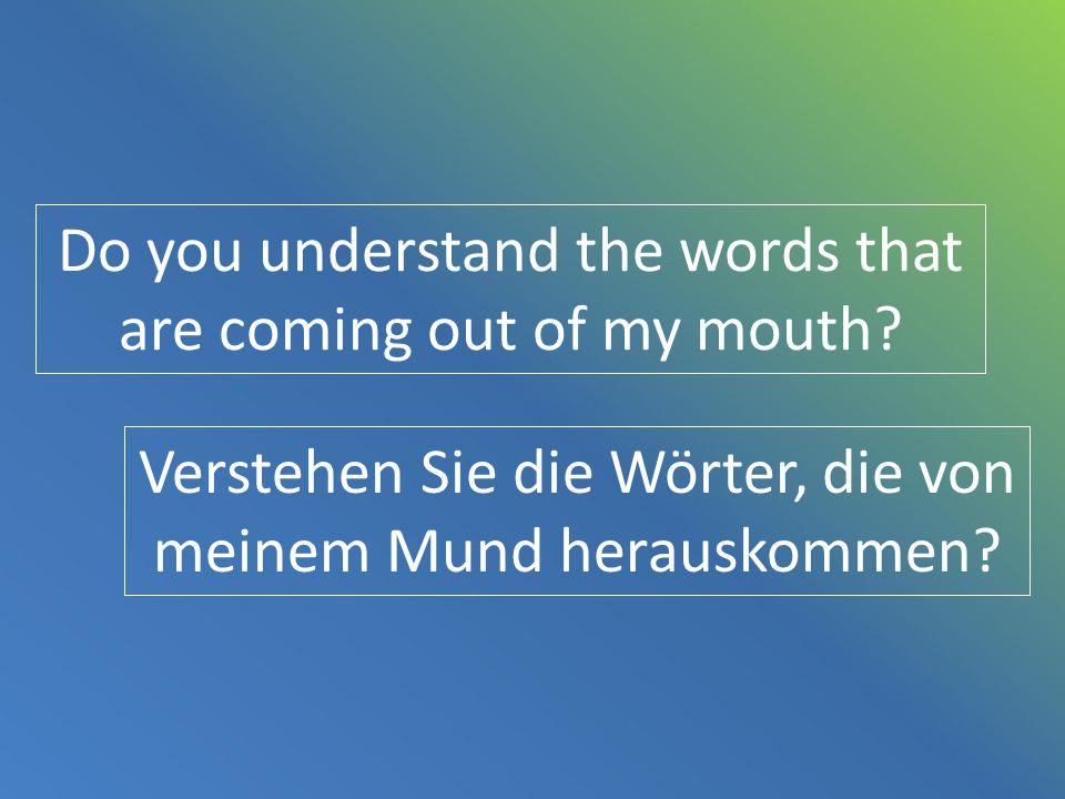 Do you understand the words that are coming out of my mouth? Verstehen Sie die Wörter, die von meinem Mund herauskommen?
