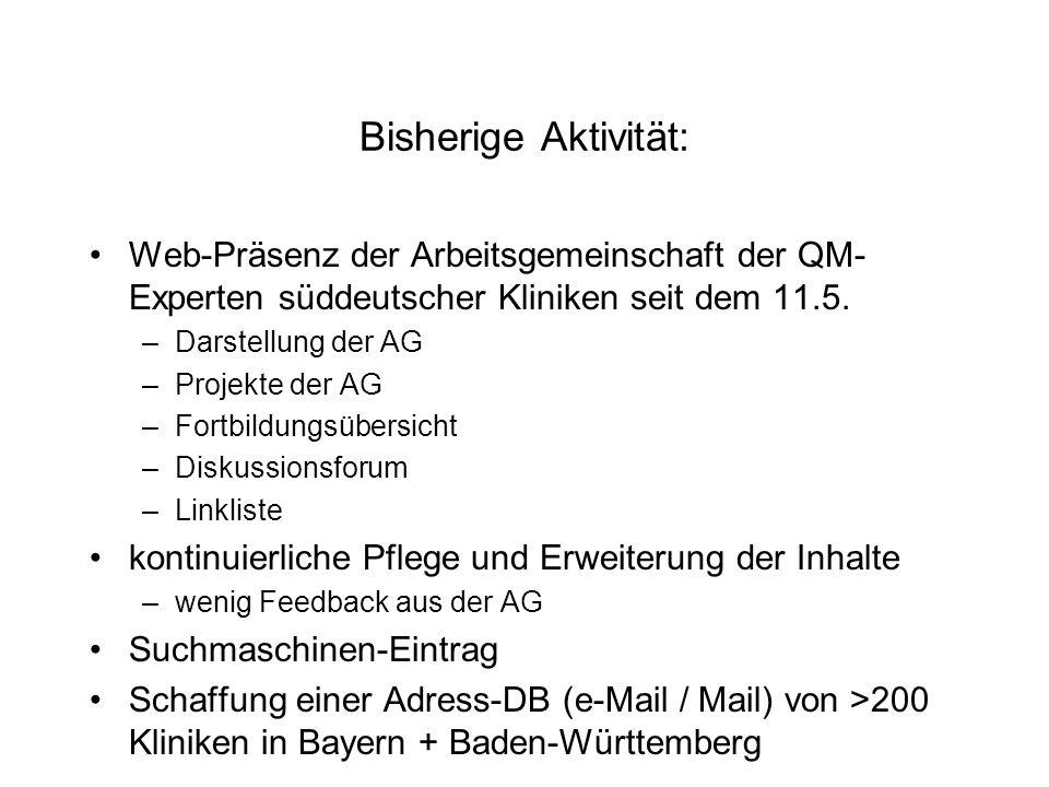 geplant weitere Darstellung der Aktivitäten der AG und deren Mitglieder Serien-Mail an Süddeutsche Kliniken nach diesem Treffen mit Information über –die Existenz der AG –diese WebSite Neuer Bereich: Eigene Projekte der Mitglieder Erweiterung der Links und des Fortbildungskalenders