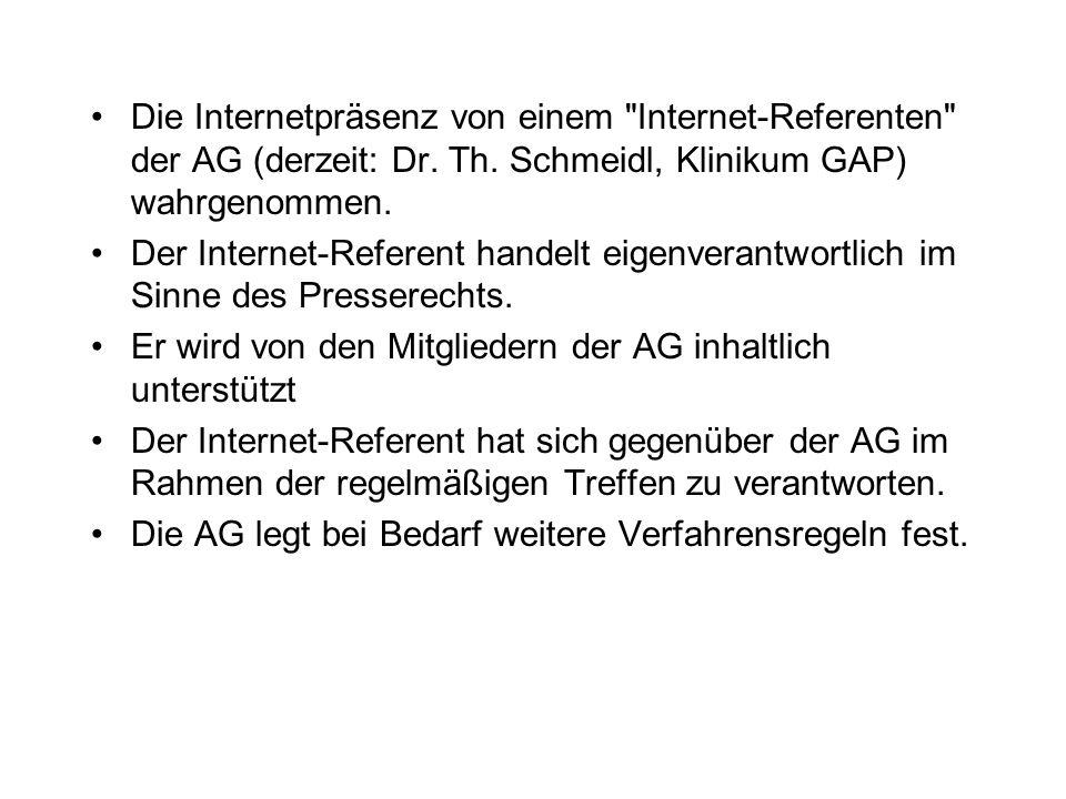 Die Internetpräsenz von einem Internet-Referenten der AG (derzeit: Dr.