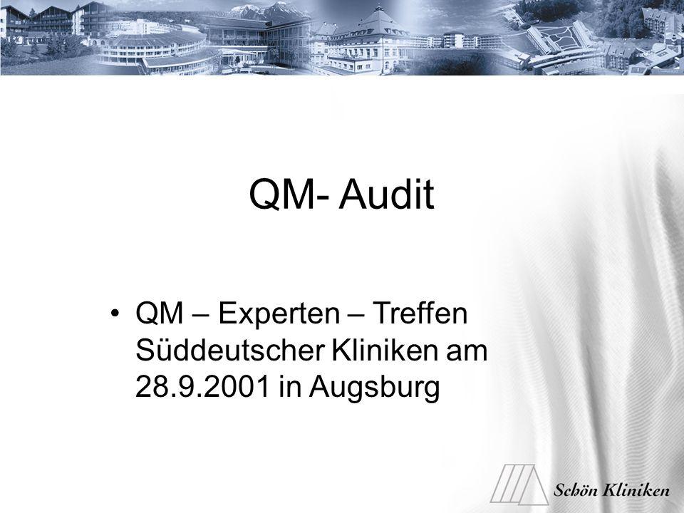 QM- Audit QM – Experten – Treffen Süddeutscher Kliniken am 28.9.2001 in Augsburg