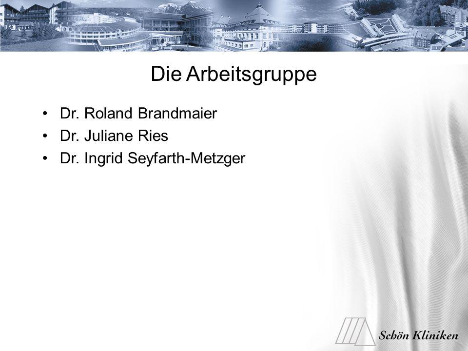 Die Arbeitsgruppe Dr. Roland Brandmaier Dr. Juliane Ries Dr. Ingrid Seyfarth-Metzger
