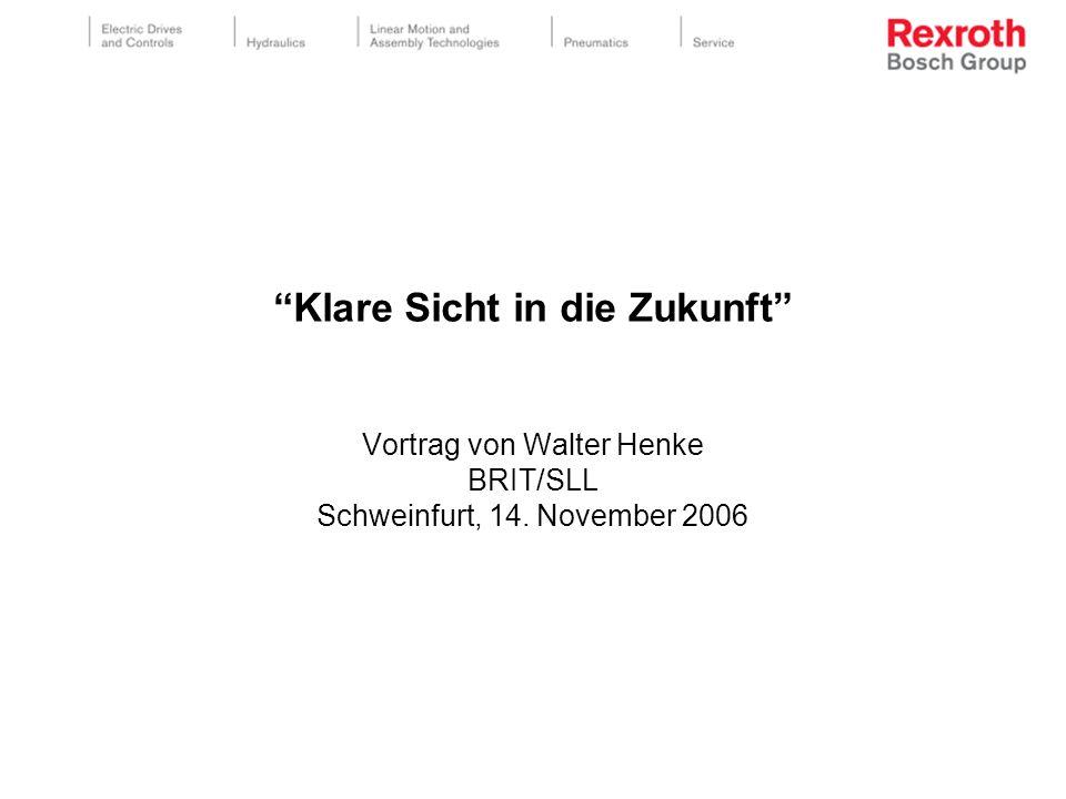 """""""Klare Sicht in die Zukunft"""" Vortrag von Walter Henke BRIT/SLL Schweinfurt, 14. November 2006"""