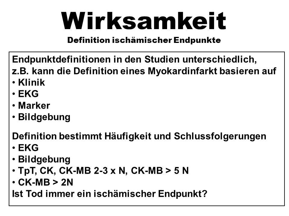 Wirksamkeit Definition ischämischer Endpunkte Endpunktdefinitionen in den Studien unterschiedlich, z.B.