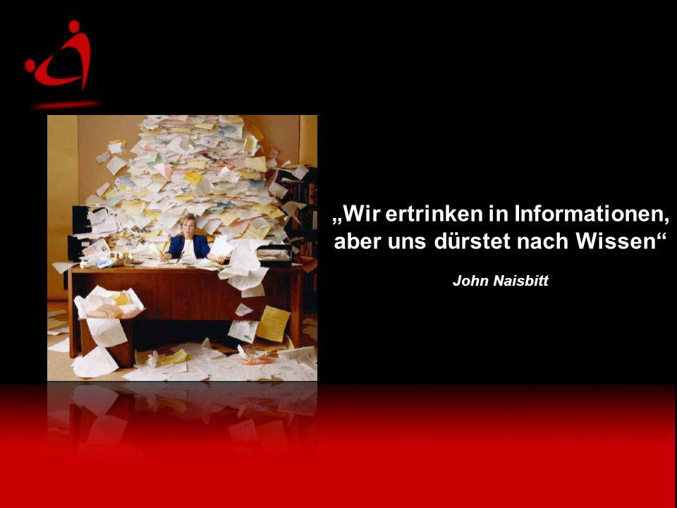 """""""Wir ertrinken in Informationen, aber uns dürstet nach Wissen John Naisbitt """"Wir ertrinken in Informationen, aber uns dürstet nach Wissen John Naisbitt"""