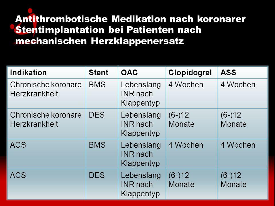 Antithrombotische Medikation nach koronarer Stentimplantation bei Patienten nach mechanischen Herzklappenersatz IndikationStentOACClopidogrelASS Chron