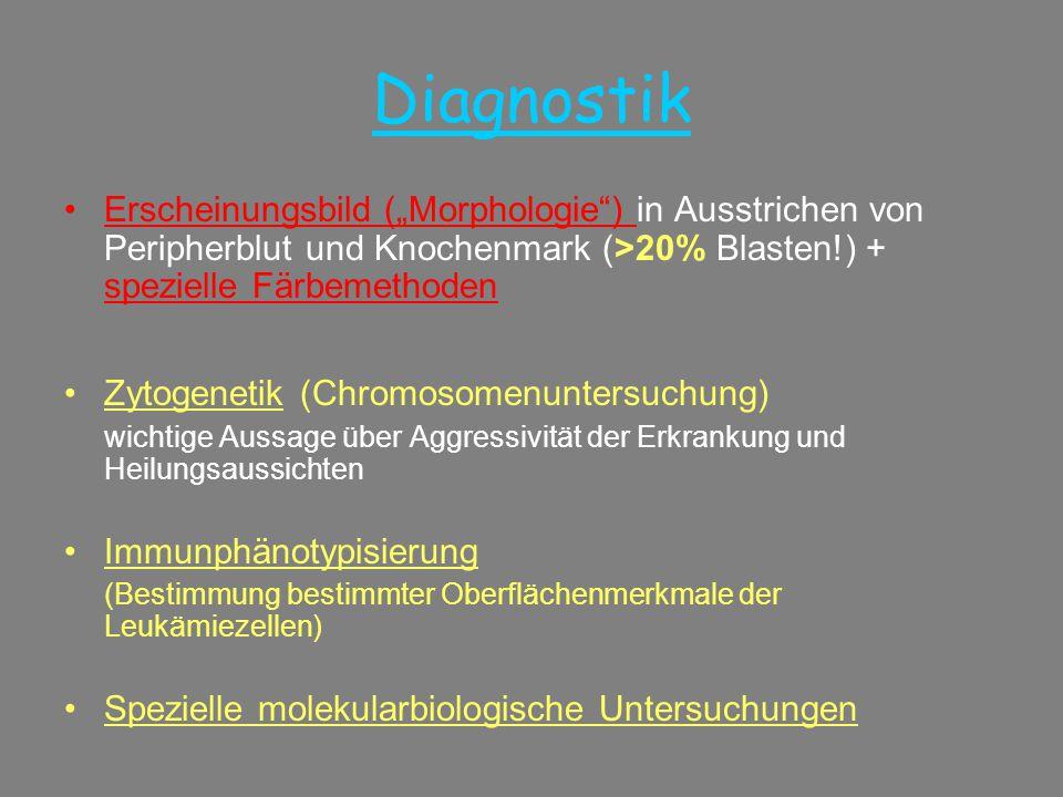 """Diagnostik •Erscheinungsbild (""""Morphologie"""") in Ausstrichen von Peripherblut und Knochenmark (>20% Blasten!) + spezielle Färbemethoden •Zytogenetik (C"""