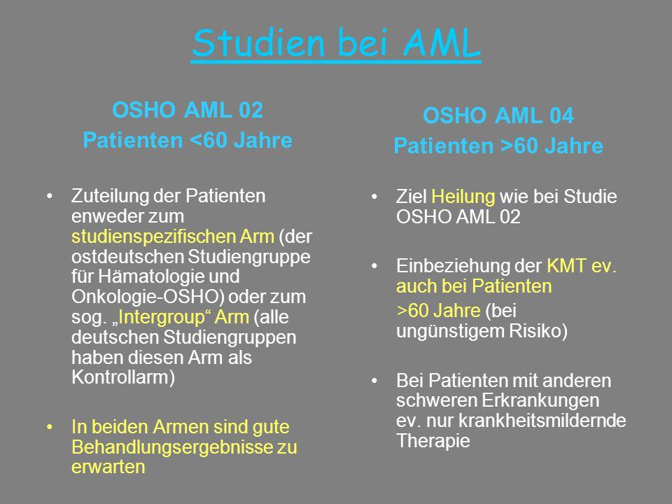 Studien bei AML OSHO AML 02 Patienten <60 Jahre •Zuteilung der Patienten enweder zum studienspezifischen Arm (der ostdeutschen Studiengruppe für Hämat