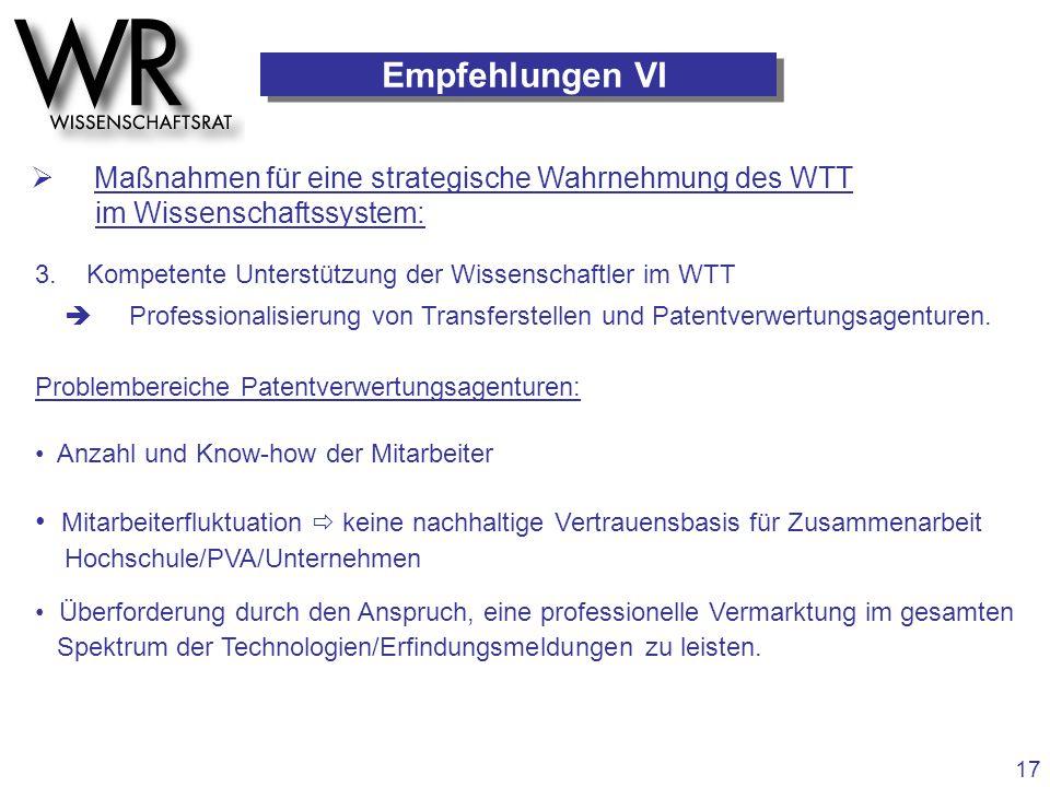 3. Kompetente Unterstützung der Wissenschaftler im WTT  Professionalisierung von Transferstellen und Patentverwertungsagenturen. Problembereiche Pate
