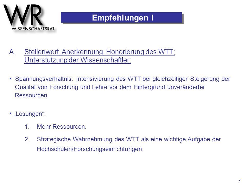 Empfehlungen I A. Stellenwert, Anerkennung, Honorierung des WTT; Unterstützung der Wissenschaftler: 1.Mehr Ressourcen. 2.Strategische Wahrnehmung des