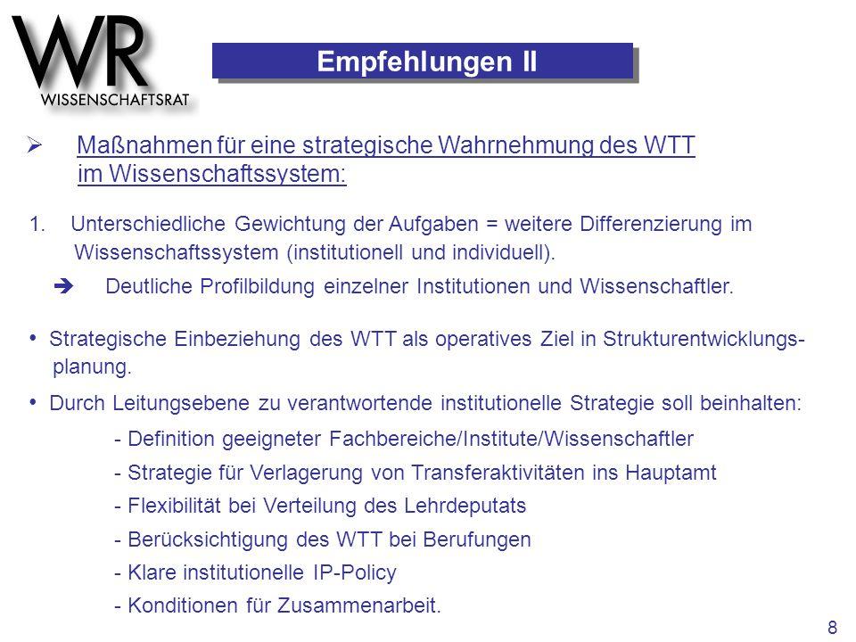 Empfehlungen II  Maßnahmen für eine strategische Wahrnehmung des WTT im Wissenschaftssystem: 1. Unterschiedliche Gewichtung der Aufgaben = weitere Di