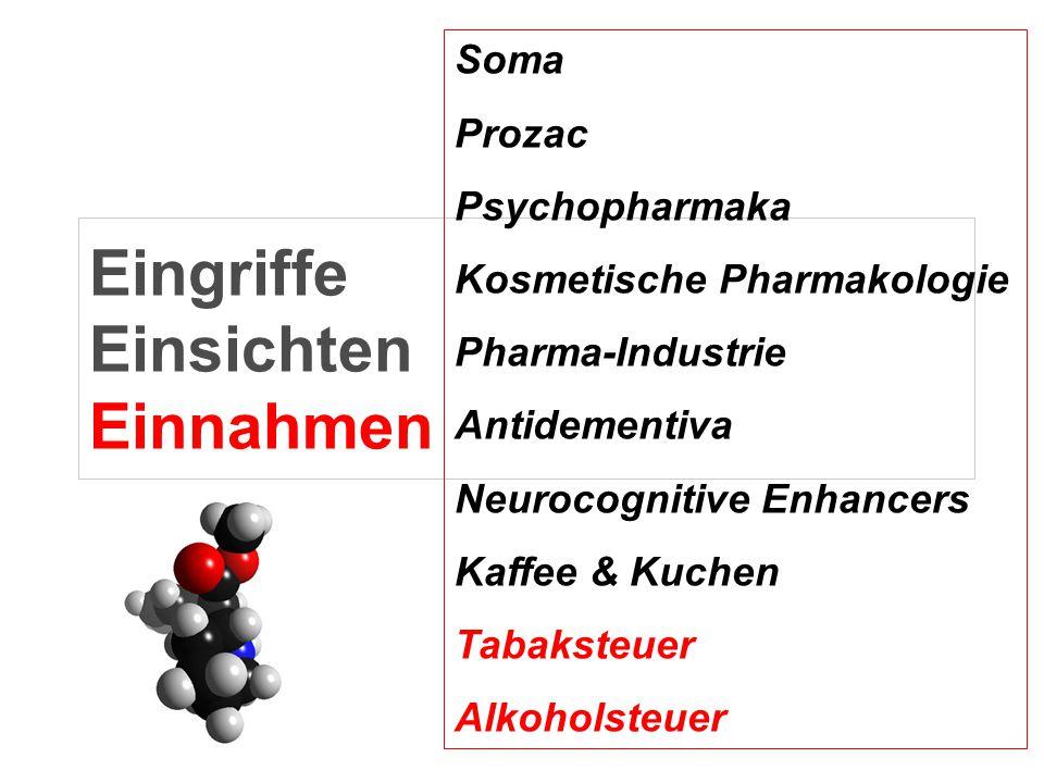 Eingriffe Einsichten Einnahmen Soma Prozac Psychopharmaka Kosmetische Pharmakologie Pharma-Industrie Antidementiva Neurocognitive Enhancers Kaffee & K