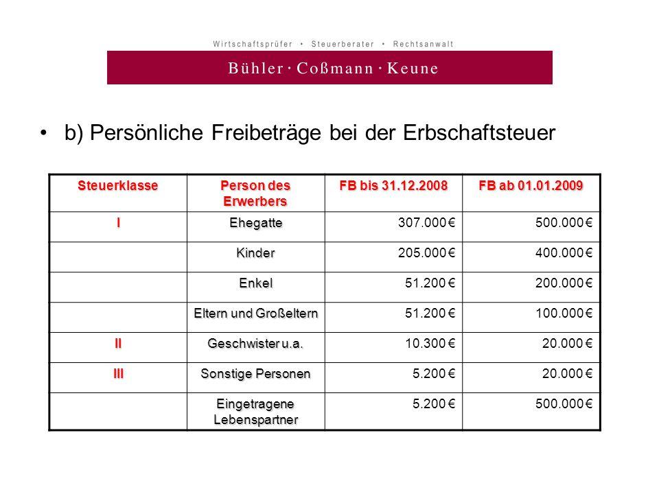 •b) Persönliche Freibeträge bei der ErbschaftsteuerSteuerklasse Person des Erwerbers FB bis 31.12.2008 FB ab 01.01.2009 IEhegatte307.000 €500.000 € Ki