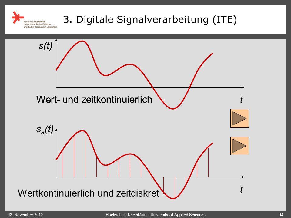 12. November 2010Hochschule RheinMain - University of Applied Sciences14 Wert- und zeitkontinuierlich t t s(t) s a (t) 3. Digitale Signalverarbeitun