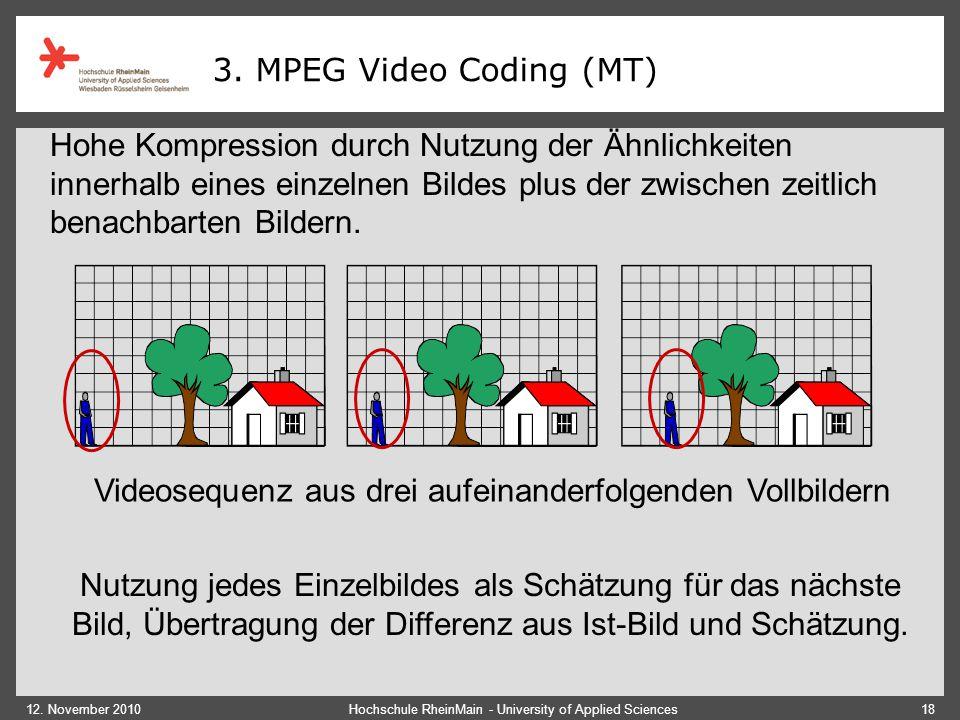 12. November 2010Hochschule RheinMain - University of Applied Sciences18 Videosequenz aus drei aufeinanderfolgenden Vollbildern Nutzung jedes Einzelbi