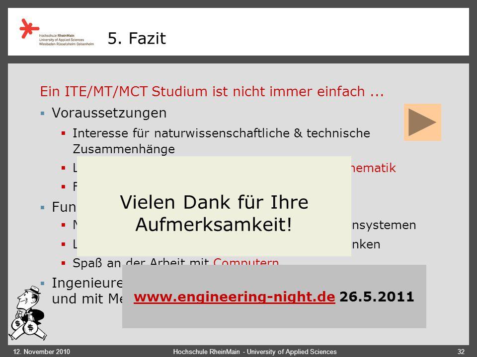 12. November 2010Hochschule RheinMain - University of Applied Sciences32 5. Fazit Ein ITE/MT/MCT Studium ist nicht immer einfach...  Voraussetzungen