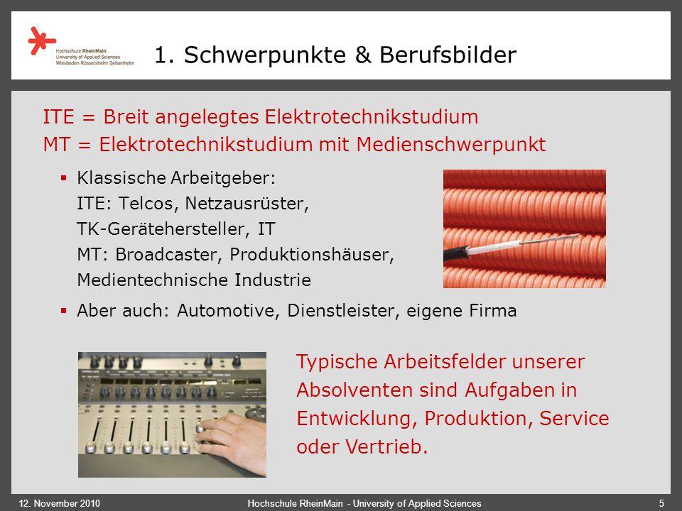 12. November 2010Hochschule RheinMain - University of Applied Sciences5 1. Schwerpunkte & Berufsbilder  Klassische Arbeitgeber: ITE: Telcos, Netzausr