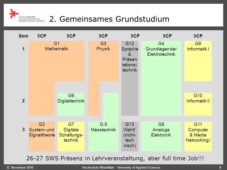 12. November 2010Hochschule RheinMain - University of Applied Sciences8 2. Gemeinsames Grundstudium 26-27 SWS Präsenz in Lehrveranstaltung, aber full