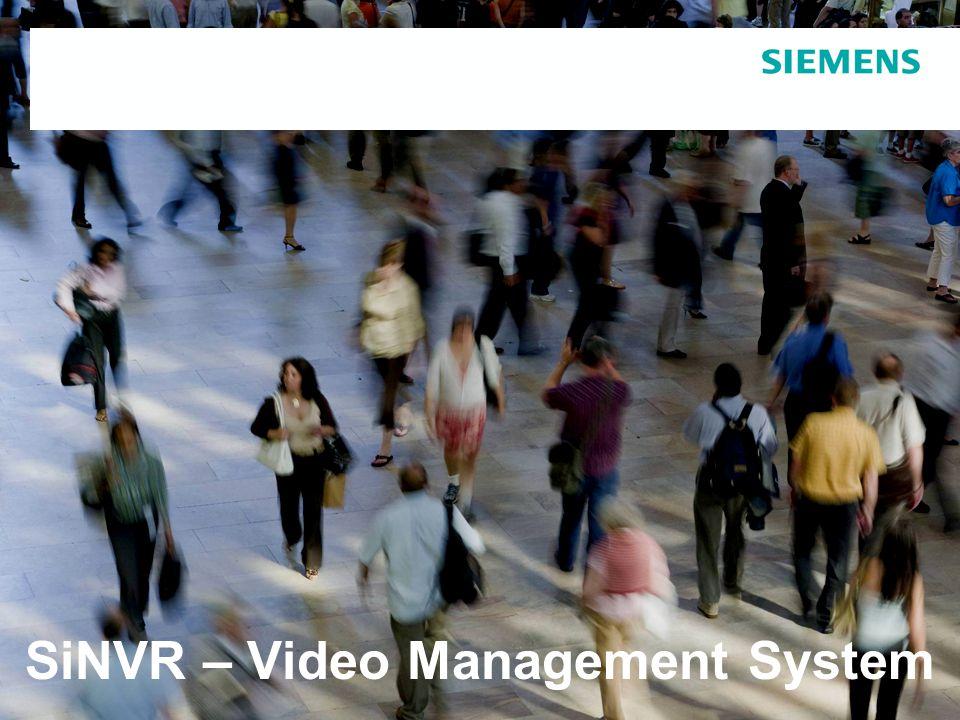 SiNVR Video Management Präsentation, 20120413 Version 005 vom 19.April 2012Seite 2  Managementsystem für digitale und analoge Videoquellen  Digitales Aufzeichnungssystem für Video und Audio  Integriertes Videoanalysesystem  Skalierbare Lösung auch für Kleinstanlagen  Modulare Werkzeuge für kundenspezifische Anpassungen  Offenes Schnittstellenkonzept für die Integration von Fremdsystemen Was ist SiNVR.