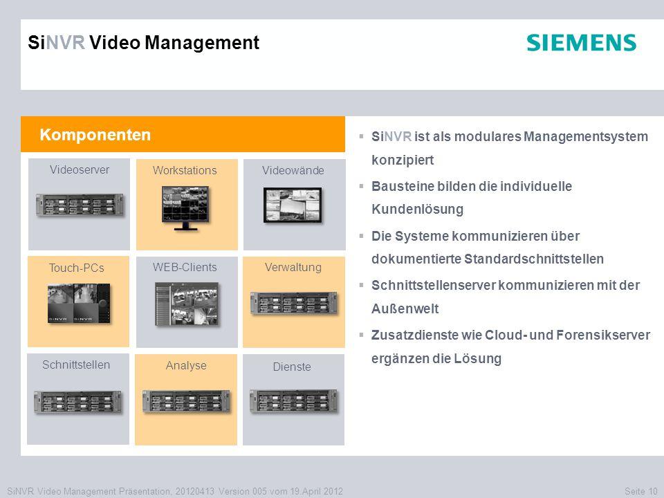 SiNVR Video Management Präsentation, 20120413 Version 005 vom 19.April 2012Seite 10 Komponenten SiNVR Video Management  SiNVR ist als modulares Manag