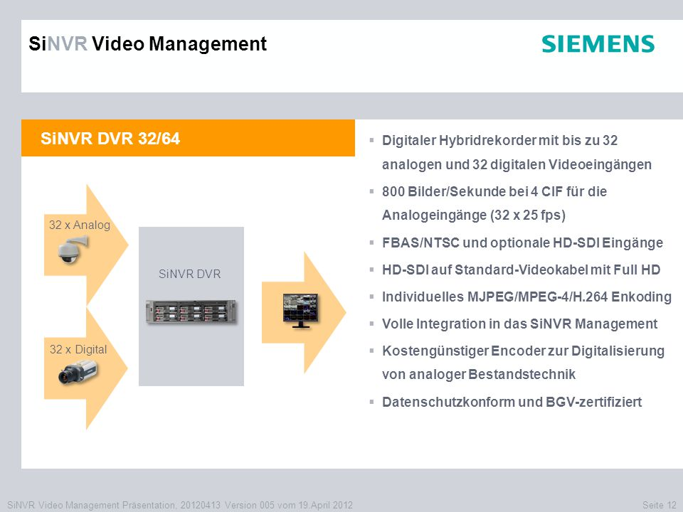 SiNVR Video Management Präsentation, 20120413 Version 005 vom 19.April 2012Seite 12 SiNVR DVR 32/64  Digitaler Hybridrekorder mit bis zu 32 analogen und 32 digitalen Videoeingängen  800 Bilder/Sekunde bei 4 CIF für die Analogeingänge (32 x 25 fps)  FBAS/NTSC und optionale HD-SDI Eingänge  HD-SDI auf Standard-Videokabel mit Full HD  Individuelles MJPEG/MPEG-4/H.264 Enkoding  Volle Integration in das SiNVR Management  Kostengünstiger Encoder zur Digitalisierung von analoger Bestandstechnik  Datenschutzkonform und BGV-zertifiziert XXXX SiNVR DVR SiNVR Video Management 32 x Analog 32 x Digital