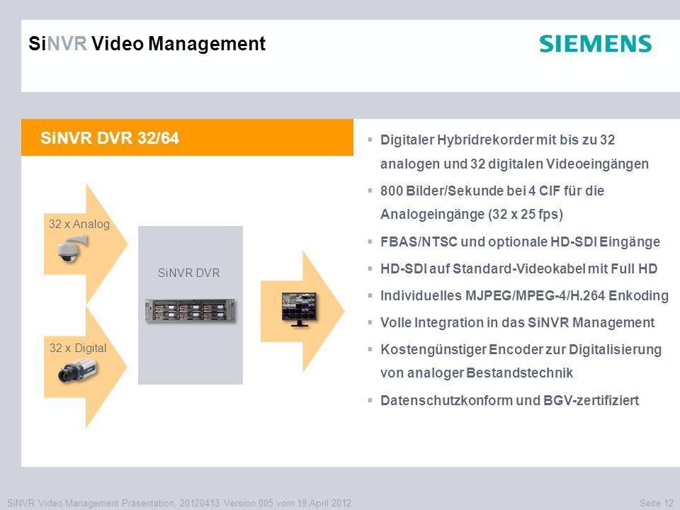 SiNVR Video Management Präsentation, 20120413 Version 005 vom 19.April 2012Seite 12 SiNVR DVR 32/64  Digitaler Hybridrekorder mit bis zu 32 analogen