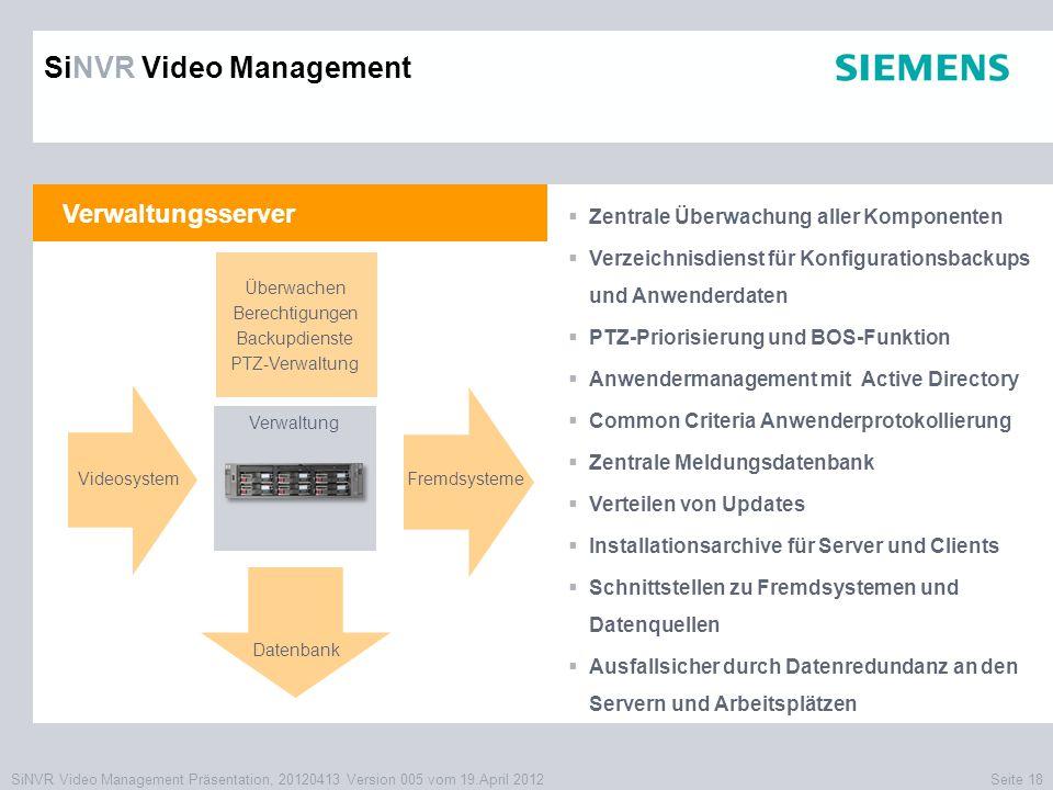 SiNVR Video Management Präsentation, 20120413 Version 005 vom 19.April 2012Seite 18 Verwaltungsserver  Zentrale Überwachung aller Komponenten  Verze