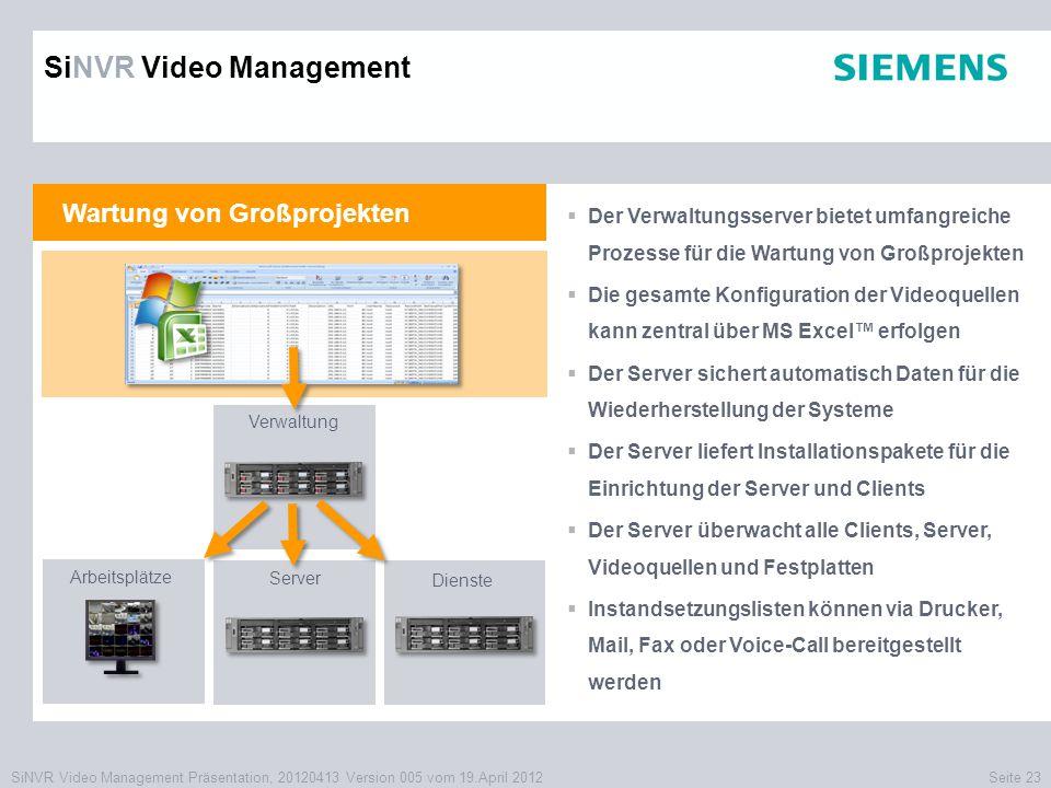 SiNVR Video Management Präsentation, 20120413 Version 005 vom 19.April 2012Seite 23 Wartung von Großprojekten  Der Verwaltungsserver bietet umfangrei