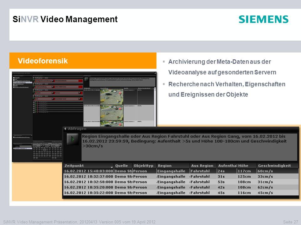SiNVR Video Management Präsentation, 20120413 Version 005 vom 19.April 2012Seite 27 Videoforensik  Archivierung der Meta-Daten aus der Videoanalyse a
