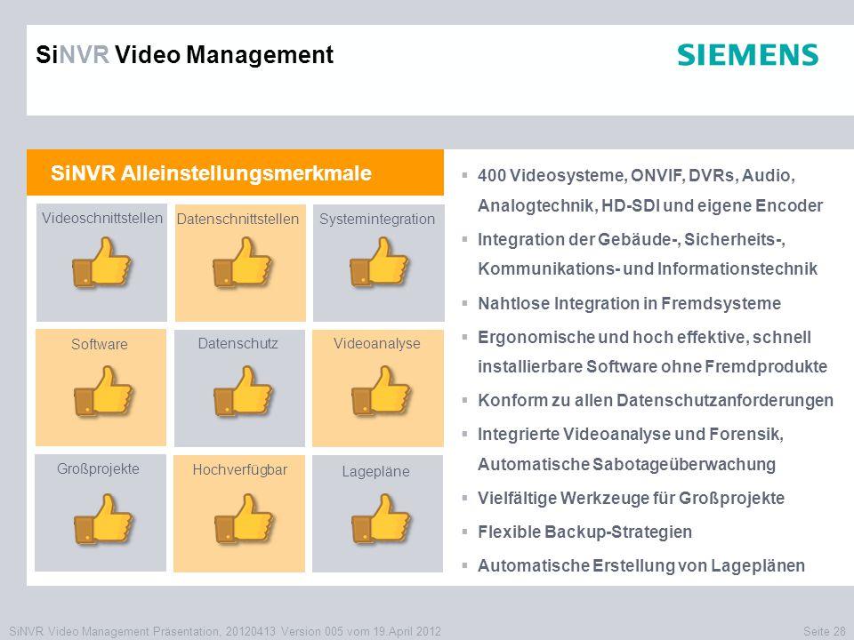 SiNVR Video Management Präsentation, 20120413 Version 005 vom 19.April 2012Seite 28 SiNVR Alleinstellungsmerkmale  400 Videosysteme, ONVIF, DVRs, Aud