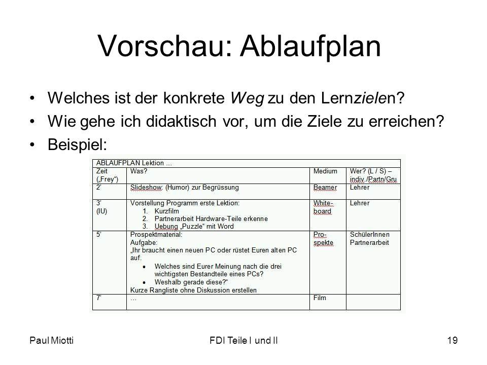 Paul MiottiFDI Teile I und II19 Vorschau: Ablaufplan •Welches ist der konkrete Weg zu den Lernzielen? •Wie gehe ich didaktisch vor, um die Ziele zu er