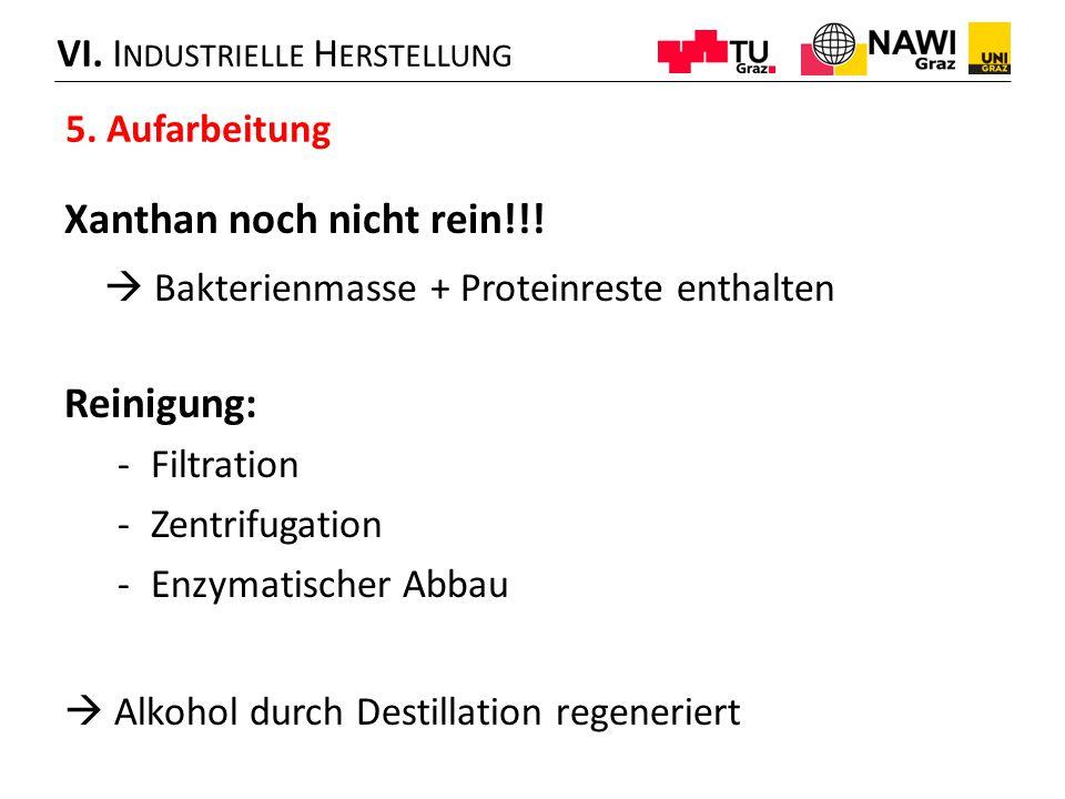 VI. I NDUSTRIELLE H ERSTELLUNG 5. Aufarbeitung Xanthan noch nicht rein!!!  Bakterienmasse + Proteinreste enthalten Reinigung: -Filtration -Zentrifuga