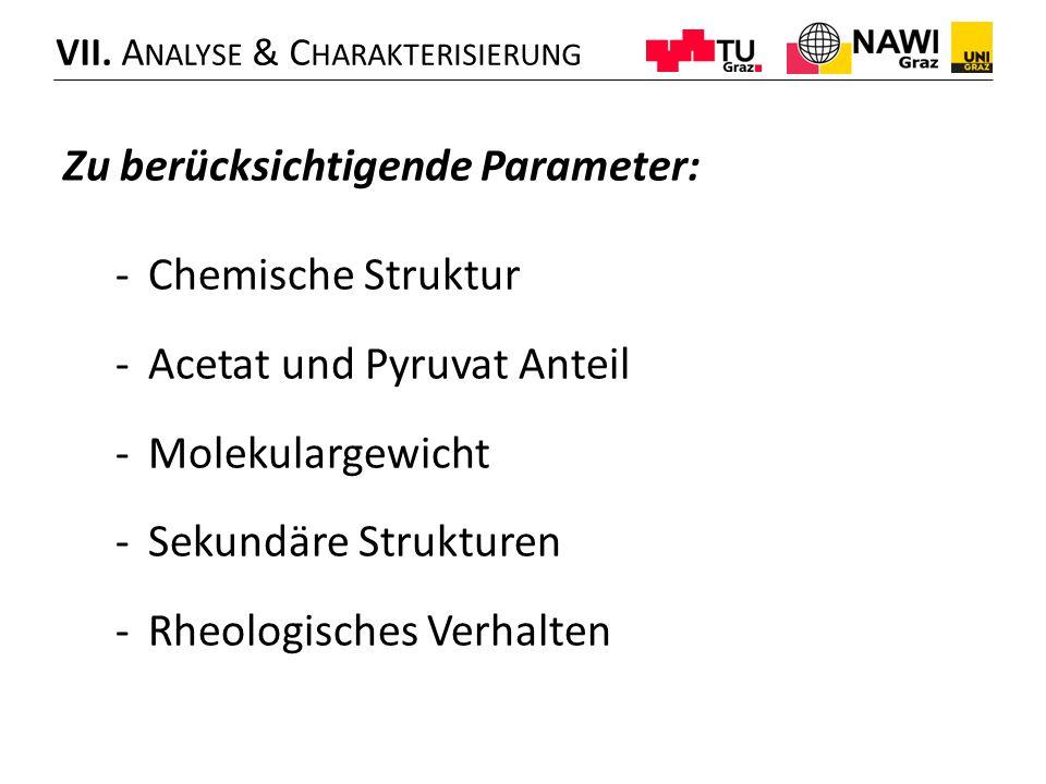 Zu berücksichtigende Parameter: -Chemische Struktur -Acetat und Pyruvat Anteil -Molekulargewicht -Sekundäre Strukturen -Rheologisches Verhalten VII.