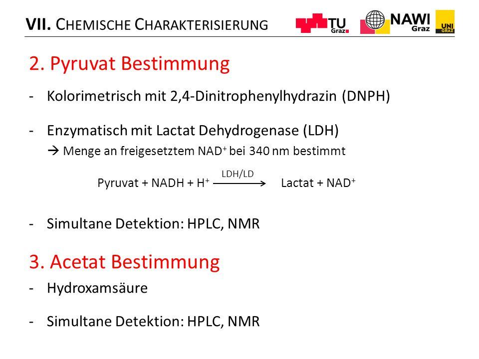2. Pyruvat Bestimmung -Kolorimetrisch mit 2,4-Dinitrophenylhydrazin (DNPH) -Enzymatisch mit Lactat Dehydrogenase (LDH)  Menge an freigesetztem NAD +