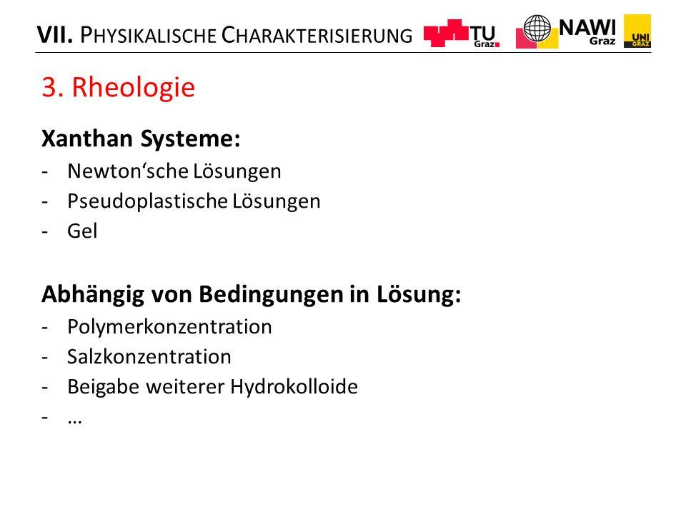 3. Rheologie Xanthan Systeme: -Newton'sche Lösungen -Pseudoplastische Lösungen -Gel Abhängig von Bedingungen in Lösung: -Polymerkonzentration -Salzkon