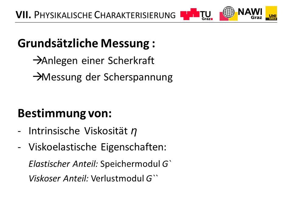 Grundsätzliche Messung :  Anlegen einer Scherkraft  Messung der Scherspannung Bestimmung von: -Intrinsische Viskosität η -Viskoelastische Eigenschaf