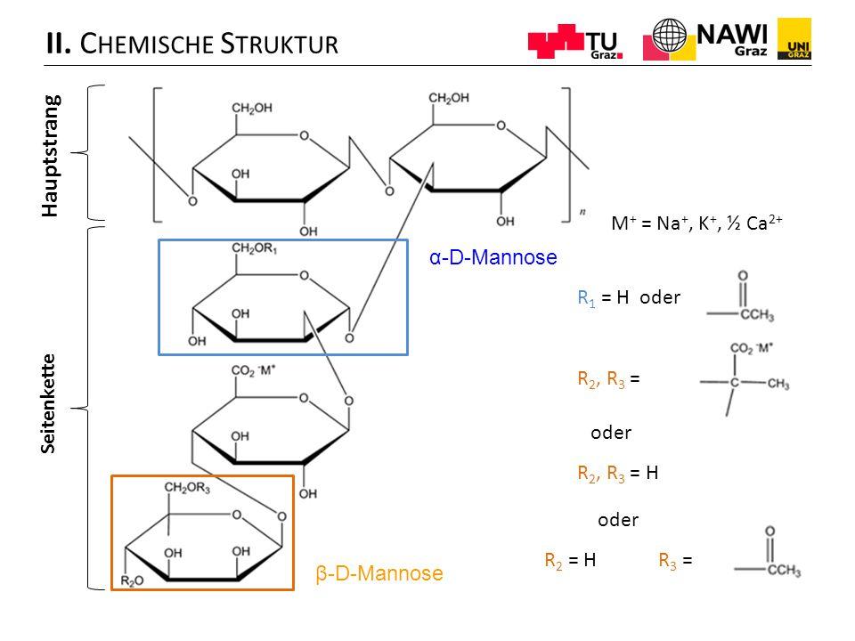 II. C HEMISCHE S TRUKTUR Hauptstrang Seitenkette α-D-Mannose β-D-Mannose M + = Na +, K +, ½ Ca 2+ R 1 = H oder R 2, R 3 = R 2, R 3 = H R 2 = HR 3 = od