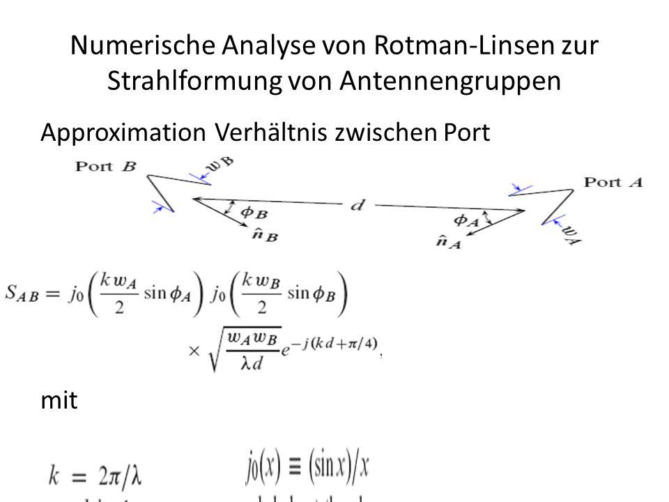 Numerische Analyse von Rotman-Linsen zur Strahlformung von Antennengruppen Approximation Verhältnis zwischen Port mit