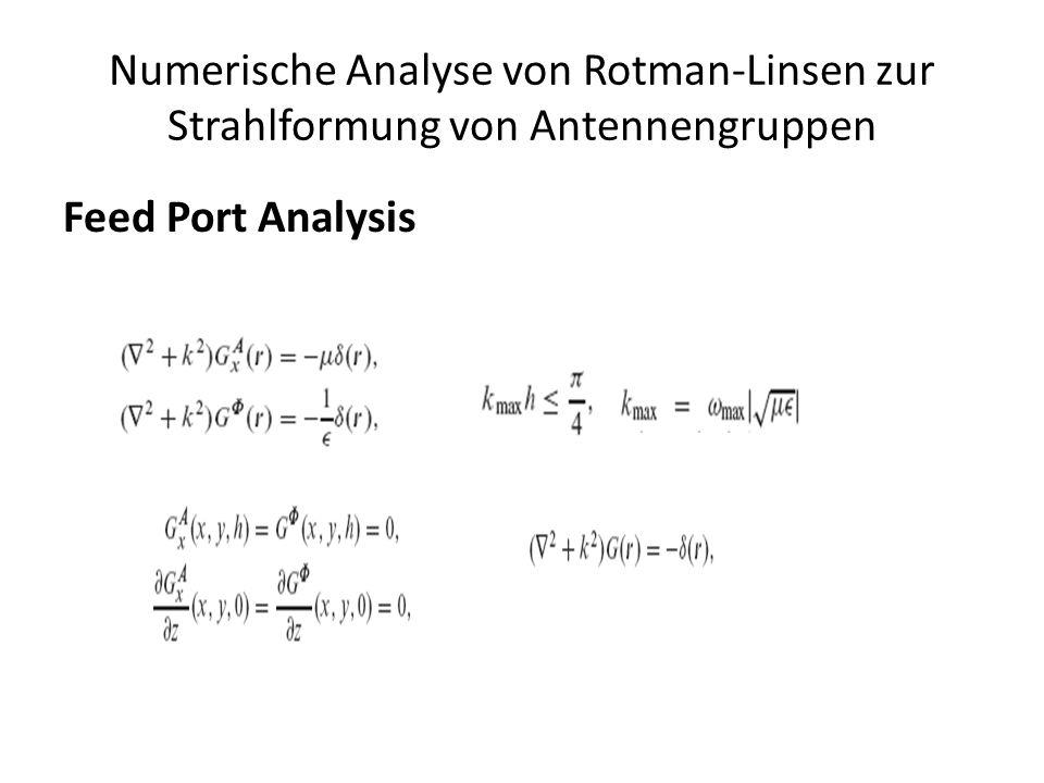 Numerische Analyse von Rotman-Linsen zur Strahlformung von Antennengruppen Feed Port Analysis