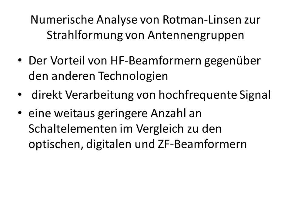 Numerische Analyse von Rotman-Linsen zur Strahlformung von Antennengruppen • Der Vorteil von HF-Beamformern gegenüber den anderen Technologien • direkt Verarbeitung von hochfrequente Signal • eine weitaus geringere Anzahl an Schaltelementen im Vergleich zu den optischen, digitalen und ZF-Beamformern