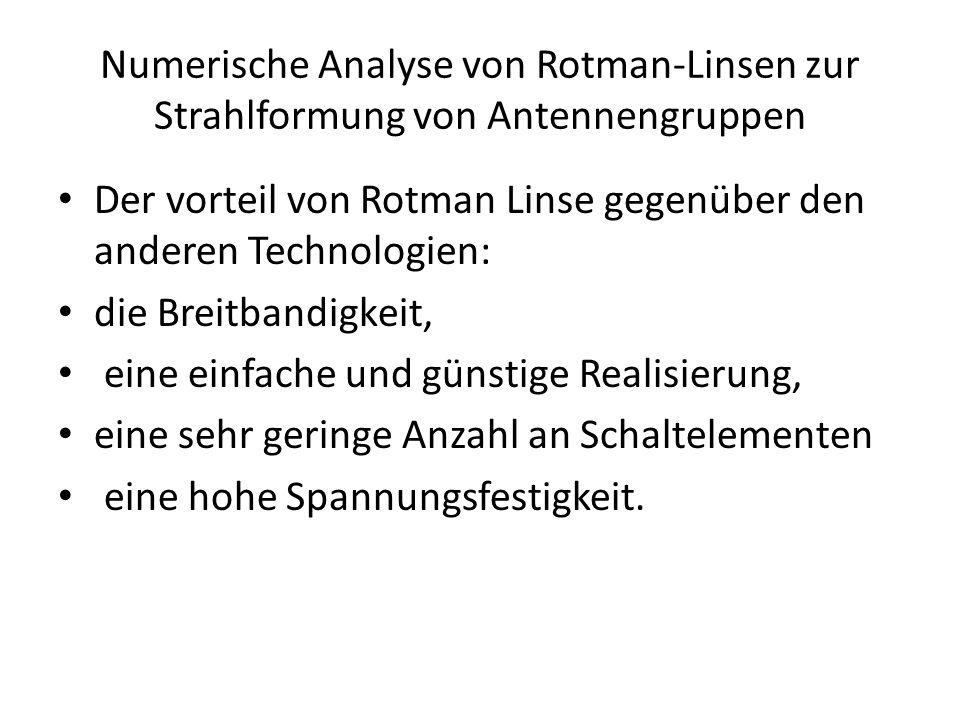 Numerische Analyse von Rotman-Linsen zur Strahlformung von Antennengruppen • Der vorteil von Rotman Linse gegenüber den anderen Technologien: • die Breitbandigkeit, • eine einfache und günstige Realisierung, • eine sehr geringe Anzahl an Schaltelementen • eine hohe Spannungsfestigkeit.