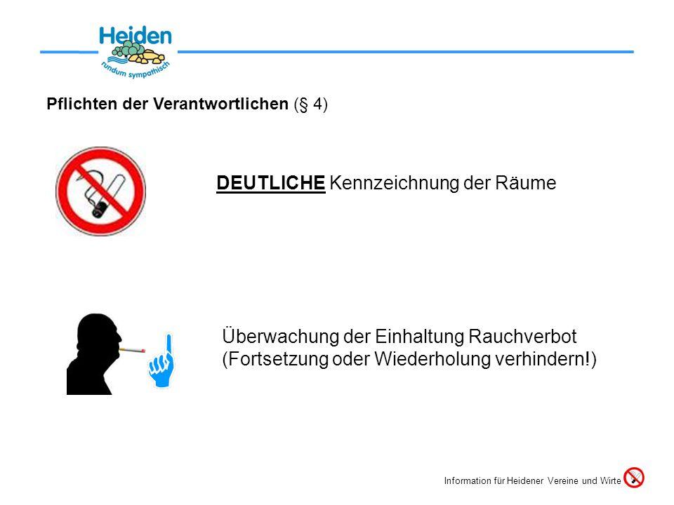 Pflichten der Verantwortlichen (§ 4) DEUTLICHE Kennzeichnung der Räume Überwachung der Einhaltung Rauchverbot (Fortsetzung oder Wiederholung verhindern!) Information für Heidener Vereine und Wirte